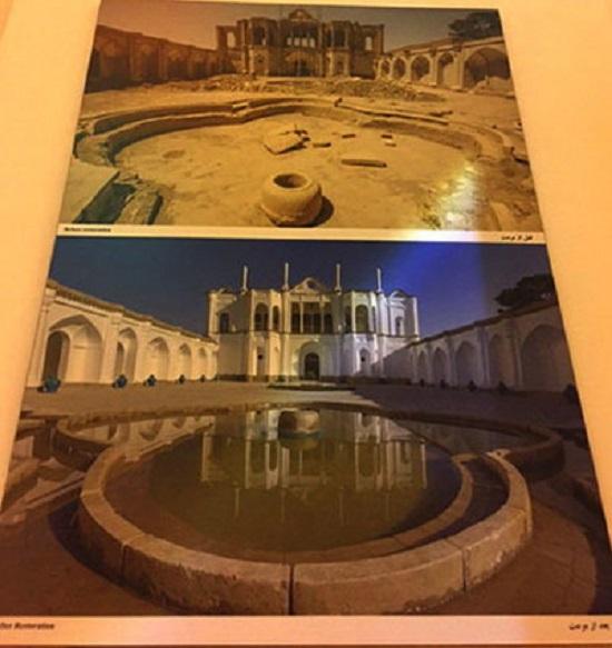 تصویری از باغ فتحآباد، قبل و بعد از مرمت